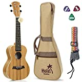 Tenor Ukulele Deluxe Series by Hola! Music (Model HM-127ZW+), Bundle Includes: 27 Inch Zebrawood Ukulele with Aquila Nylgut Strings Installed, Padded Gig Bag, Strap and Picks