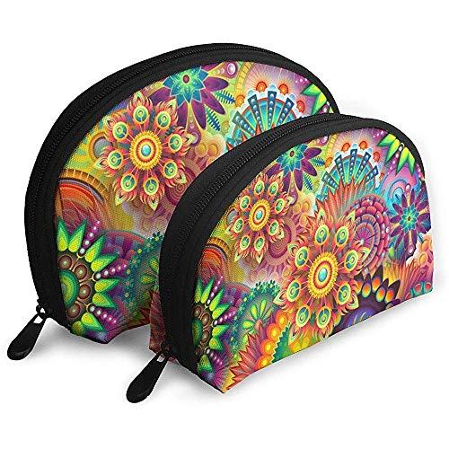 Abstracción de Flores de Colores Bolsas portátiles Bolsa de Maquillaje Bolsa de Aseo Bolsas de Viaje portátiles multifunción Bolsillo de Maquillaje pequeño