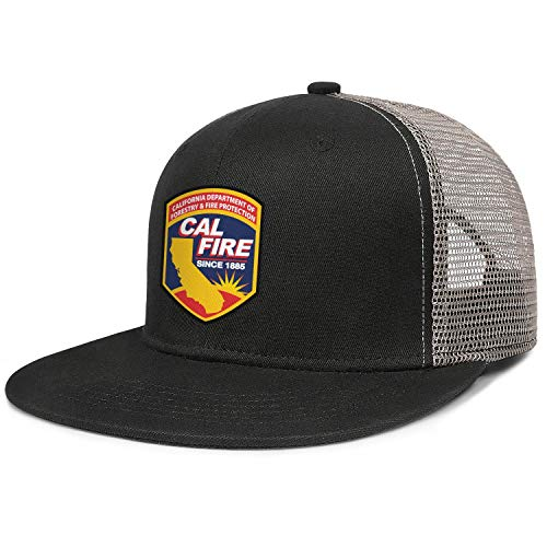 LQIAO California Department of Forestry and Fire Protection Mesh Snapback Baseball Hat Flat Brim Hip-Hop Cap Golf Hats