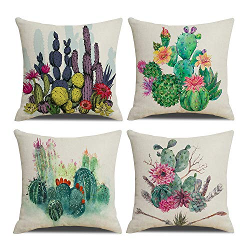 QIQIANY Set of 4 Green Plants Outdoo Decorative Cactus Pillow Case 18x18 Inches Square Soft Cotton Linen, Home Decor Set Quote Cactus Pillow Cushion Covers for Sofa Kitchen Chair Bedr