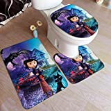 XCNGG Juego de alfombras de Tres Piezas Bath Mats 19.5x31.5in Bathtub Mats Set 3 Piece Coraline Bathroom Antiskid Pad Memory Foam Toilet Rug (Rectangular Carpet+UShaped Floor Mat+OShaped Lid Cover)