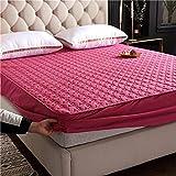 FJMLAY Sábana bajeraajuste, Sábanas Gruesas Acolchadas para Cama, protección Antideslizante para el apartamento del Dormitorio-Pink_2_180cmx200cm