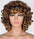 ANNIVIA Ombre Blonde Short Curly Wigs for Black Women with Bangs Big Bouncy Fluffy Kinky Curly Wig Soft Synthetic Short Curly Afro Wigs…