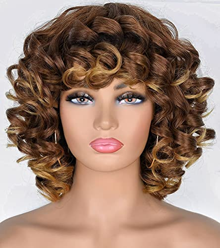 ANNIVIA Ombre Blonde Short Curly Wi…