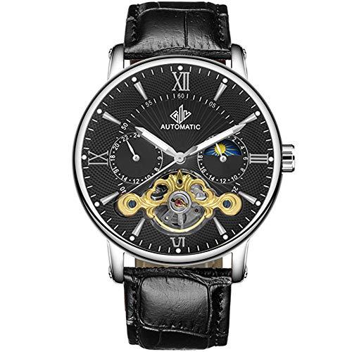 Reloj Hombre Automático Moda Esqueleto Reloj mecánico Cuero Genuino Reloj Masculino Reloj Impermeable