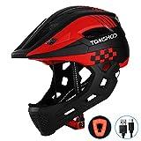 TOMSHOO Casco Integral de Bicicleta para Niños Casco de Patinaje de Seguridad para Niños Casco de Patinar Protector de Cabeza Deportiva con luz Trasera y Mentón Desmontable (Rojo Negro)