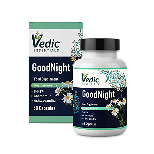5-HTP + Chamomile + Ashwagandha + Melatonin Alternative Natural Sleeping Aid - Schisandra Berry, Magnesium, L-Tryptophan Supplement Pills | Goodnight Capsules by Vedic Essentials (TM)