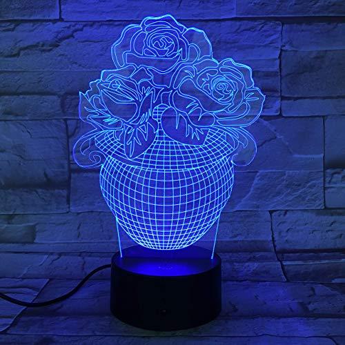 3D Luz De Noche Led LED Luz nocturna vase Ilusión Lámpara de mesa Luces con para la decoración del partido Presentes de cumpleaños Con interfaz USB, cambio de color colorido