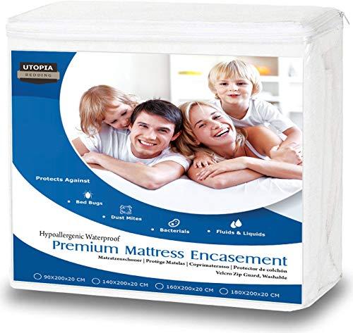 Utopia Bedding Coprimaterasso Impermeabile - Protezione Materasso Premium con Cerniera - Altezza Materasso 15-25 cm - Protezione da Liquidi, Insetti e Acari (160 x 200 cm)
