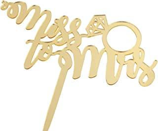 Miss to Mrs Cake Topper with Diamond Ring Gold Mirror Wedding Bridal Shower Engagement Decorations Supplies Wedding Anniversary Party
