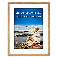 Finnair Finland Scenic Lake Airline Framed Wall Art Print