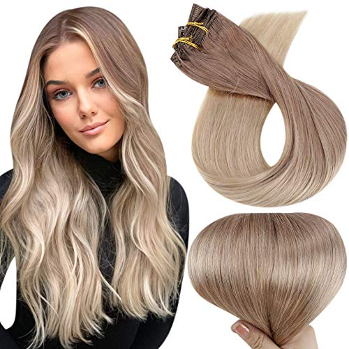Full Shine Hair Clip in Extensions 14 Inch Color 12 Light Golden Brown Fading to 24 Blonde Straight Clip in Human Hair Extensions 7 Pieces 100 Gram Clip in Real Hair Extensions