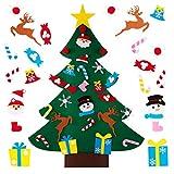 Xiangmall Albero di Natale Feltro 3.3ft Decorazioni Feltro Natale con 25 Pezzi di Ornamenti Staccabili Regali di Sorpresa di Natale per Bambini, Parete Appeso Ornamento