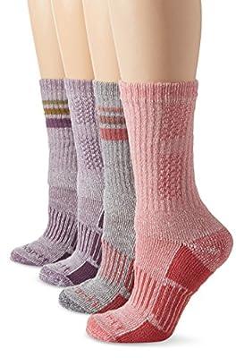 Carhartt Women's 4 Pack All-Season Boot Socks, Lavender/Grey/Pink, Shoe Size: 5.5-11.5
