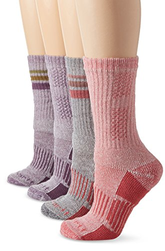 Carhartt Women's 4 Pack All-Season Boot Socks, Lavender/Grey/Pink, Shoe Size: 5.5-11.5