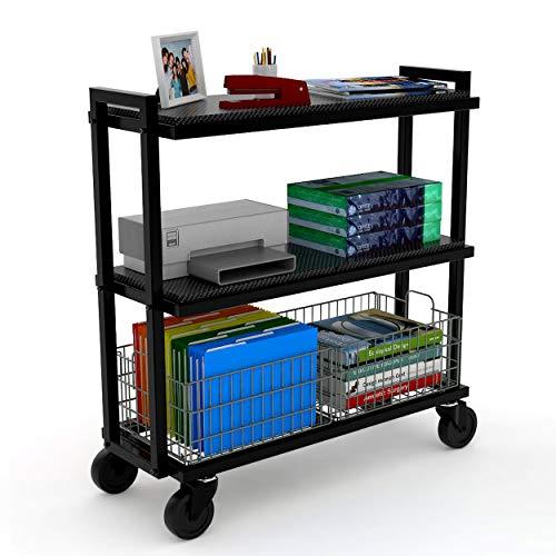 Atlantic Cart System 3 Tier Cart - Wide Mobile Storage, Interchange Shelves and Baskets, Powder-Coated Steel Frame PN23350329 in Black