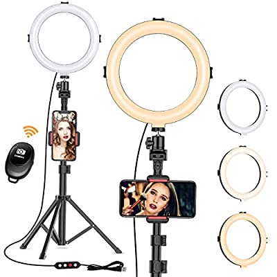"""8"""" Ring Light with Tripod Stand - Dimmable Selfie Ring Light LED Camera Ringlight with Tripod and Phone Holder for Live Stream/Makeup/YouTube Video, Compatible for iPhone Android, Remote(Upgraded) by VIEWOW"""
