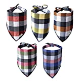 Bandana for Dogs | Durable Flannel Fabric Plaid Dog Bandana Pack of 5 | Adjustable fit Dog Bandanas for Large Dogs-Extra...