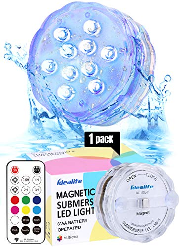 Idealife Magnet Submersible LED Lights with Remote RF- Battery Operated WRGB Colored Hot Tub Lights Full Waterproof Lights for Pool Aquarium Fish Tank Shower Pond Pumpkin Lights Halloween Decorations