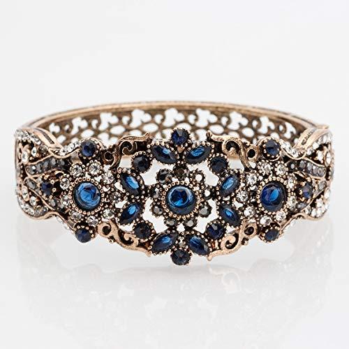 Armband,Türkische Vintage Armreif Für Frauen Antique Gold Farbe Strass Armband Armreif Hohl Blume Retro Hochzeit Schmuck Blau
