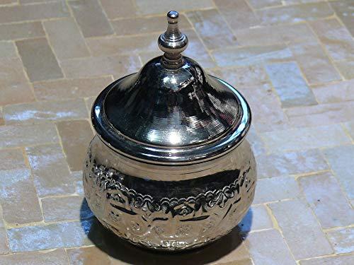 Orientalische marokkanische Dose Metall versilbert Zucker Tee Nüsse Aufbewahrung - 905607-0009