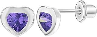 925 Sterling Silver CZ Little Heart Love Screw Back Earrings for Baby Girls 5mm