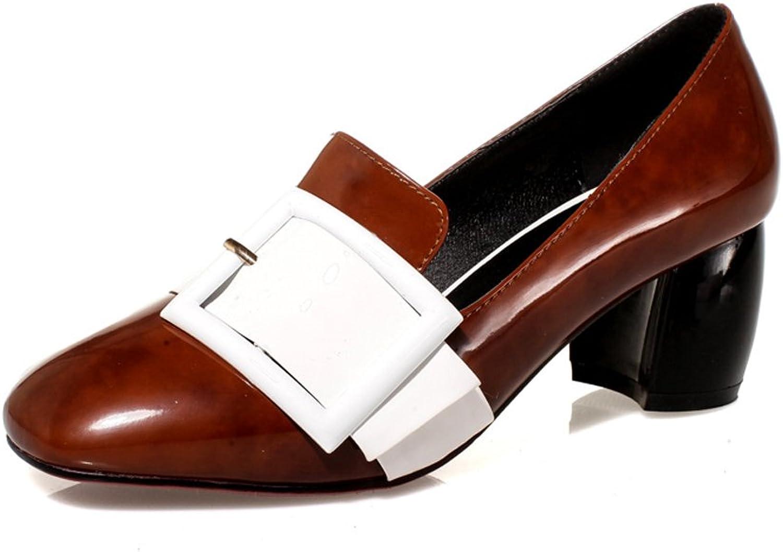 MINIVOG Women's Patent Square Toe Buckle Pumps shoes