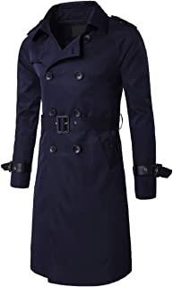 XINHEO Mens Turn-Down Collar with Belt Solid Double-Breasted Trench Coat Jacket Clothes