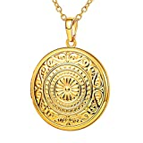 U7 Round Locket Pendant 18K Gold Plated Rolo Chain Memorial Fashion Necklace