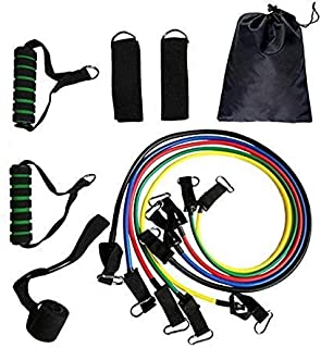 Resistance Bands Set (11pcs) Exercise Bands for Physical Therapy, Resistance Training, Home Workouts,Yoga-Best Gift with D...