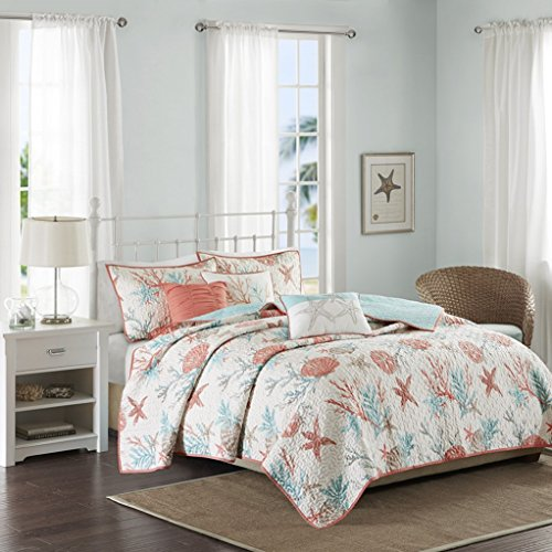 teal and coral quilt - 8