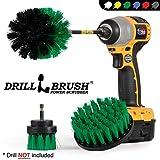 Drillbrush Cucina di Pulizia Spazzole per Kit Trapano con Long Reach attaccamento. Tre Pezzi Medium Power Scrub Brush Set Medio-Verde