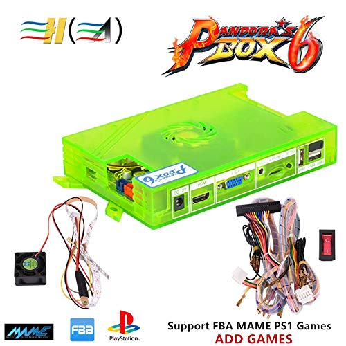 TAPDRA 3A Original Pandora's Box 6 Arcade Board DIY Kit, 1300 Retro Games Console Machine, with Harness Cable/Power Switch, Support Add FBA MAME PS1 Games, HDMI VGA Output
