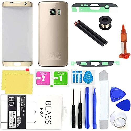 qiaohuan shop Reemplazo de la contraportada del teléfono de cristal frontal exterior de las piezas de recambio del teléfono celular compatible con Samsung Galaxy S7 Edge
