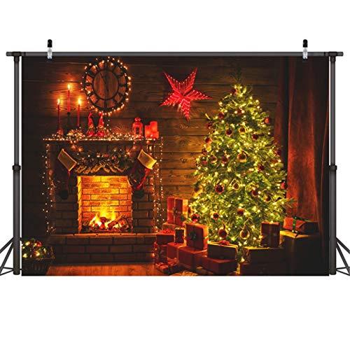 BGROESTWB Fondos de Estudio de Fotos Fondo del paño Fotografía de Eva niños de la decoración de Navidad de Fondo de Tela Chimenea Año Fondo de la Foto (Color : D, Size : One Size)
