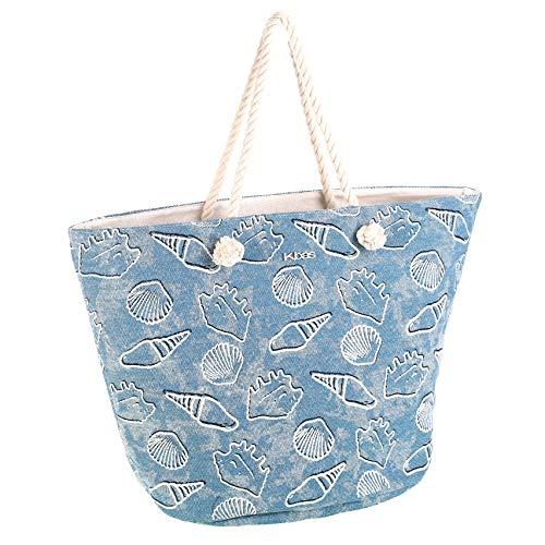 Kbas Bolsa de playa algodón Binidalí Azul