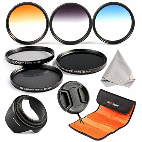 K&F Concept® Objektiv Filterset 52mm ND Filter set 52mm ND2 ND4 ND8 Filter 52mm 3er Verlaufsfilter Set 52mm Blau Grau Orange Verlaufsfilter 52mm mit Gegenlichtblende 52mm Objektivdeckel Reinigungstuch und Filtertasche