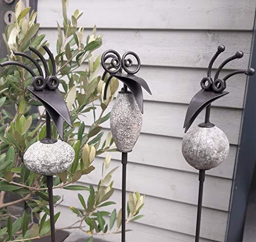 3er Set Gartenstecker lustige Vögel Metall Gartendeko Beetstecker Topfstecker Vogel Gartenstab