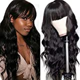 UNice Glueless Body Wave Human Hair Wigs With Bangs, Brazilian Virgin Hair Full Machine Made None Lace Front Wigs for Black Women 150% Density (18 inch, Natural Color)