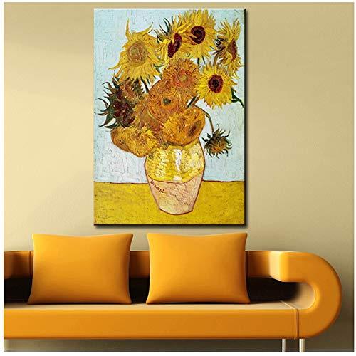 foto schilderij vaas met twaalf zonnebloemen impressionistische schilder print muurschildering -40x60cm zonder lijst