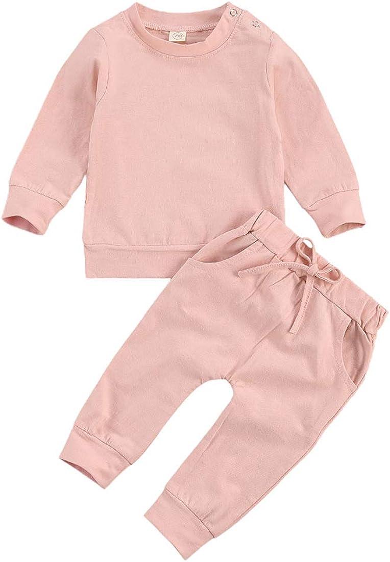 Madjtlqy Newborn Baby Boys Clothes Set Solid Color Long Sleeve Pullover Sweatshirt+Pants