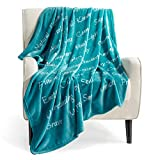 Bedsure Healing Thoughts Throw Blanket - Super Soft Flannel Fleece Blanket with Inspirational Positive Energy Healing Thoughts - Perfect Sympathy Cancel Get Well Blanket for Women(Teal)