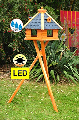 Holz-Vogelhaus XXL Premium, 70-75 cm, wetterfest Massivdach, mit Beleuchtung,Solar-LED mit Ständer-Standfuß + Silo-Futtersilo für Winterfütterung,Gartendeko aus Holz blau mit Ständer blaue BGXL75blM