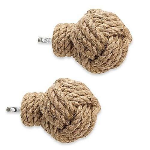 Cambria Premier Complete Jute Knot Finials (Set of 2)