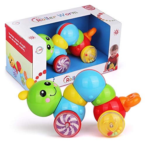 Playkidz Baby Roller Worm - Early Development Toy for Babies & Toddlers - Inchworm Rattling Wiggle Toy - Twist, Push, Roll and Go - STEM Learning Toy, Ages 6m+
