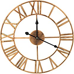 ShuaXin Large Decorative 16 Inch Wrought Iron Art Wall Clock,Vintage Golden Roman Numerals Retro European Style Metal Wall Clock for Kitchen,Farmhouse