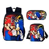 Super Mario - Mochila para niños, diseño de Super Mario Bros, mochila escolar, bolsa de almuerzo, estuche para lápices, juego de 3 piezas (03)
