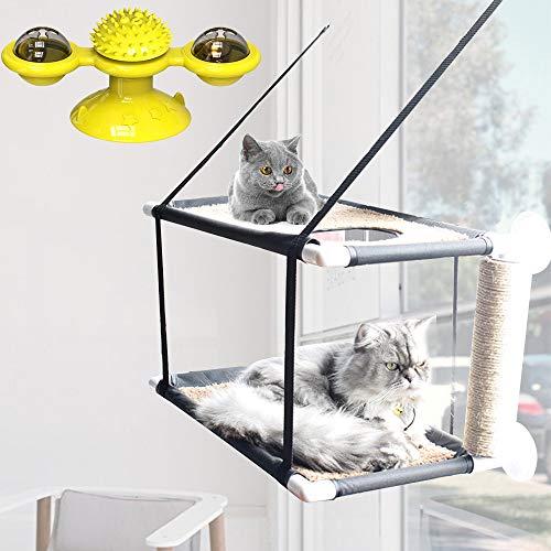 Katzenbalkon Hängematte, Katzenfenster Barsch Ruhesitzbett mit interaktivem Katzenspielzeug, Lager 20 kg Katzenhaus Katze Sonniger Sitz Wasserdichter Stoff