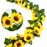 Whaline 2 Pack Artificial Sunflower Garland Silk Sunflower Vine Faux Flower Hanging Garland with Green Leaves Fake Floral Arrangement for Wedding Party Anniversary Home Office Table Centerpiece Decor