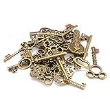 Ogquaton Paquete mixto de 40 llaves vintage, llaves antiguas de bronce, engastadas para la creación de joyas de bricolaje